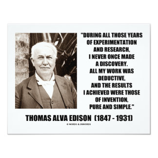 Thomas Edison Results Invention Pure Simple Quote Card