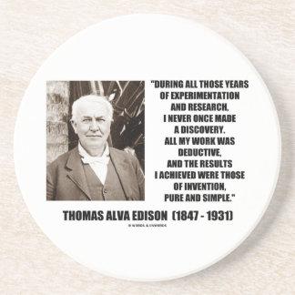 Thomas Edison Results Invention Pure Simple Quote Coaster