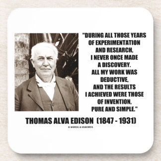 Thomas Edison Results Invention Pure Simple Quote Drink Coasters