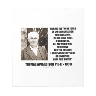 Thomas Edison Results Invention Pure Simple Quote Notepad