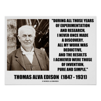 Thomas Edison Results Invention Pure Simple Quote Poster