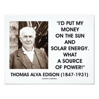 Thomas Edison Sun Solar Energy Source Of Power Card