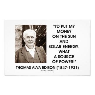 Thomas Edison Sun Solar Energy Source Of Power Stationery
