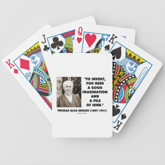 Thomas Edison To Invent Imagination Pile Of Junk Bicycle Playing Cards