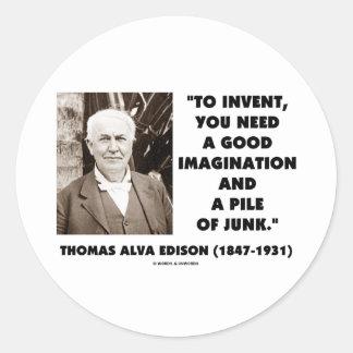 Thomas Edison To Invent Imagination Pile Of Junk Sticker