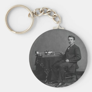 Thomas Edison y su fonógrafo temprano Llavero Redondo Tipo Pin