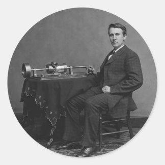 Thomas Edison y su fonógrafo temprano Pegatina Redonda