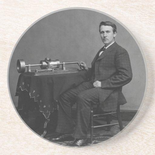 Thomas Edison y su fonógrafo temprano Posavaso Para Bebida