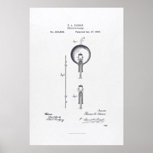 Thomas Edison's Light Bulb Patent Application 1880 Poster