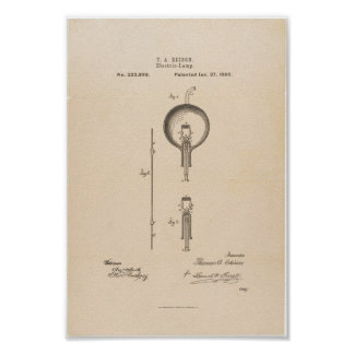 Thomas Edison's Light Bulb Patent Application Poster