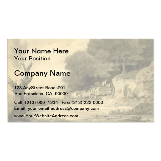 Thomas Gainsborough:Figures with cart at roadside Business Card Template