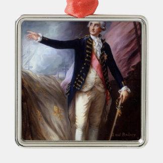 Thomas Gainsborough-George Brydges Rodney, Admiral Square Metal Christmas Ornament