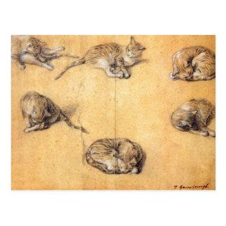 Thomas Gainsborough. Six studies of a cat Postcard