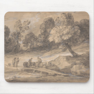 Thomas Gainsborough - Wooded Landscape with Figure Mouse Pad