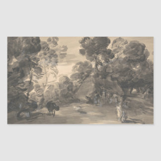 Thomas Gainsborough - Wooded Landscape with Figure Rectangular Sticker