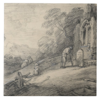 Thomas Gainsborough -Wooded Landscape with Peasant Tile