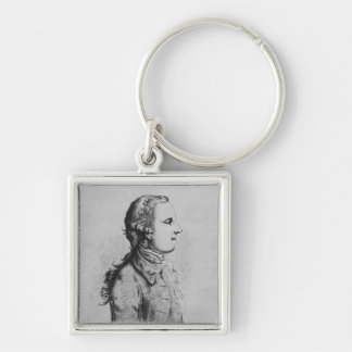 Thomas Gray, drawn by William Henshaw Silver-Colored Square Keychain