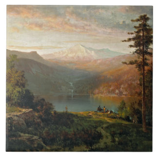 Thomas Hill - Indian by a Lake in a Majestic Tile