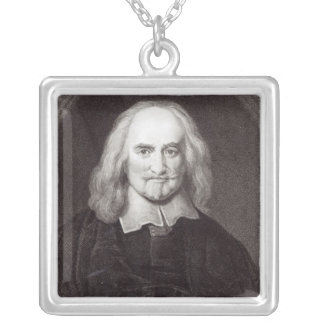 Thomas Hobbes  from 'Gallery of Portraits' Silver Plated Necklace