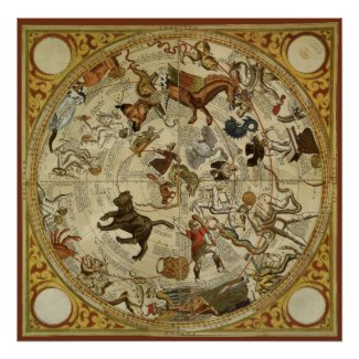 Thomas Hood Celestial Map, 1590 Poster