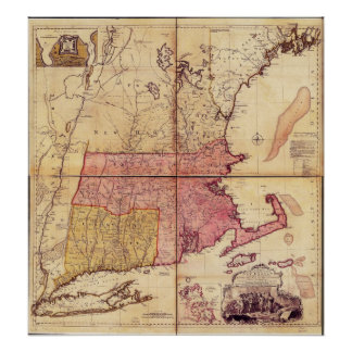 Thomas Jefferies Map of the Northeast in 1755 Poster