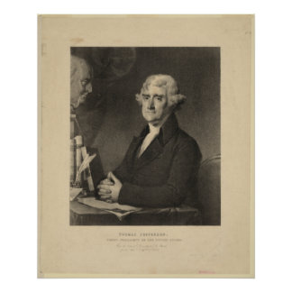 THOMAS JEFFERSON 3rd U.S. President Lithograph Poster