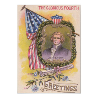 Thomas Jefferson American Flag Forget-Me-Not Card