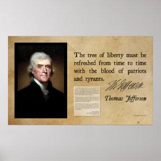 Thomas Jefferson - árbol de la libertad Póster