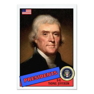"Thomas Jefferson Baseball Card 3.5"" X 5"" Invitation Card"