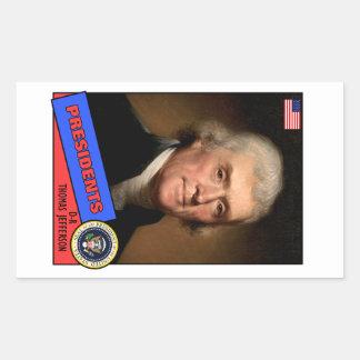 Thomas Jefferson Baseball Card Rectangular Sticker