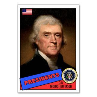 Thomas Jefferson Baseball Card Table Cards