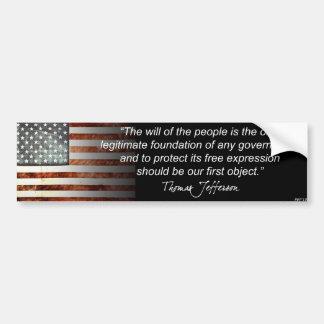 Thomas Jefferson Car Bumper Sticker