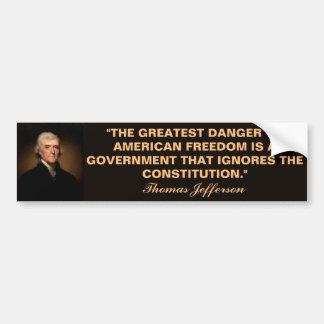 Thomas Jefferson Constitution Quote Bumper Sticker Car Bumper Sticker