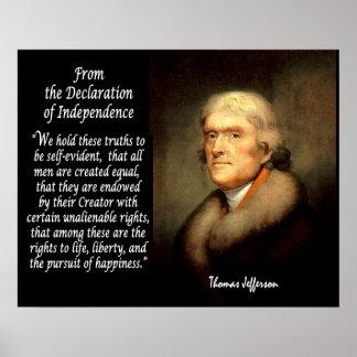 Thomas Jefferson & Declaration Of Independence Print