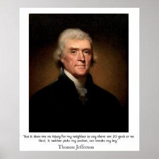 Thomas Jefferson en el estado y la religión Impresiones