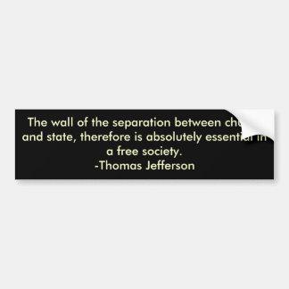 Thomas Jefferson en la separación de iglesia y de  Pegatina Para Auto