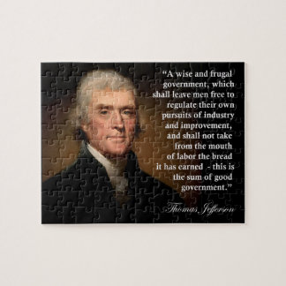 Thomas Jefferson Frugal Government Quote Puzzle