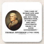 Thomas Jefferson Happiness Object Good Government Beverage Coaster