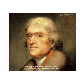 "Thomas Jefferson ""Honesty"" Wisdom Quote Gifts Postcard"
