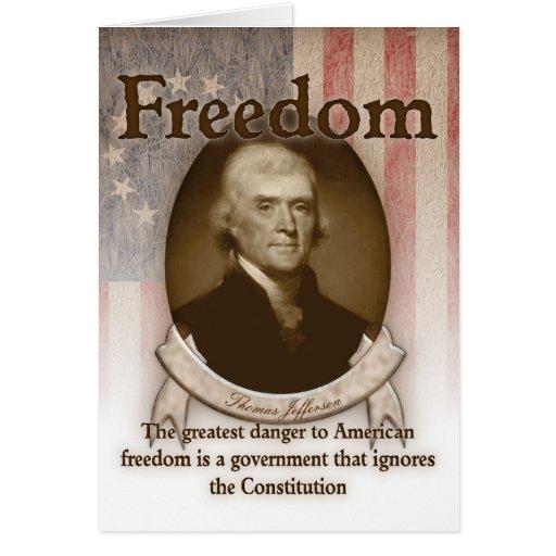 Thomas Jefferson - libertad Tarjeta De Felicitación