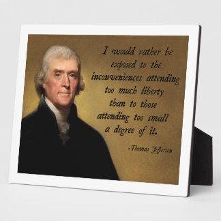 Thomas Jefferson Liberty Photo Plaque