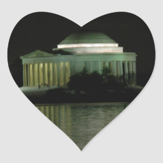 Thomas Jefferson Memorial at Night Heart Sticker