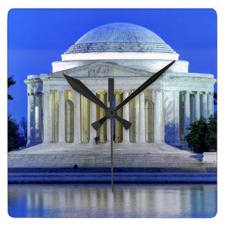 Thomas Jefferson Memorial At Night Square Wall Clock