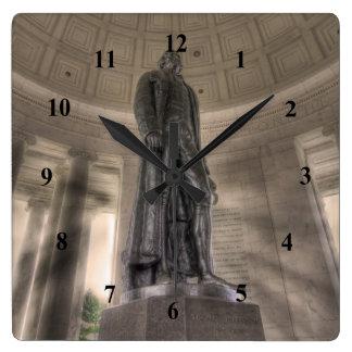 Thomas Jefferson Memorial Bronze Statue Square Wall Clock