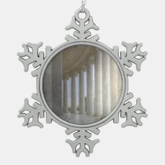 Thomas Jefferson Memorial Circular Colonnade Snowflake Pewter Christmas Ornament