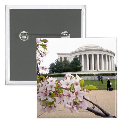 Thomas Jefferson Memorial with cherry blossoms Button
