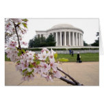 Thomas Jefferson Memorial with cherry blossoms Card