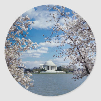 Thomas Jefferson Memorial with Cherry Blossoms Classic Round Sticker