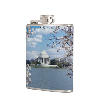 Thomas Jefferson Memorial with Cherry Blossoms Flask