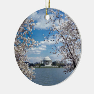 Thomas Jefferson Memorial with Cherry Blossoms Christmas Tree Ornaments